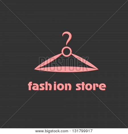Logo fashion store logo illustration of a clothes hanger as displaying clothing and fashion store