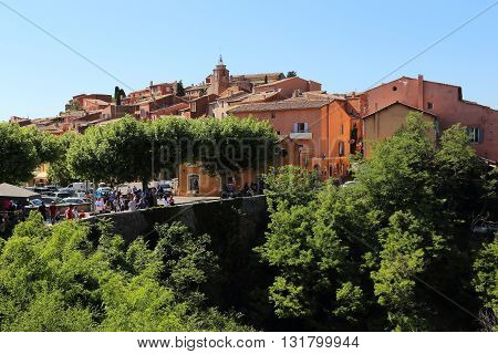 ROUSSILLION, FRANCE - MAY 17, 2015: This typical village in Provence has been in the recent past the center of the development of ochre quarries.