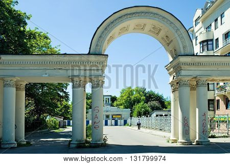 Kaliningrad, Russia - June 27, 2010: Columns with arch on Safronov colonel street