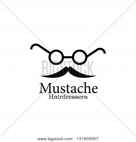Mustache Hairdressers logo hairdresser`s logo illustration of whiskers and glasses for use in design