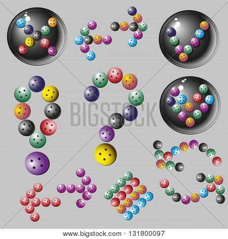 Set of colored arrows of the buttons, vector illustration Vector set of  color arrows on a gray background for decoration and design