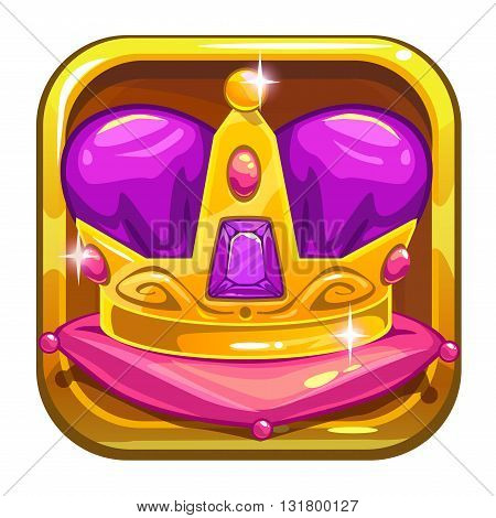 Vector app icon template with royal golden kings crown, application store asset, cool vector game asset isolated on white background, game logo design element