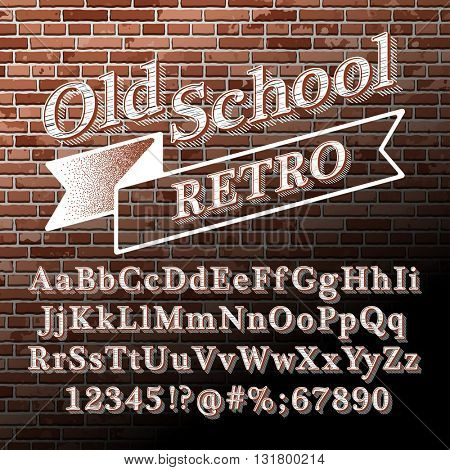 Old school Retro Vintage Style Alphabet with Lined Shadow on the red brick wall. Type letters, numbers and punctuation marks. Vintage design vector font.