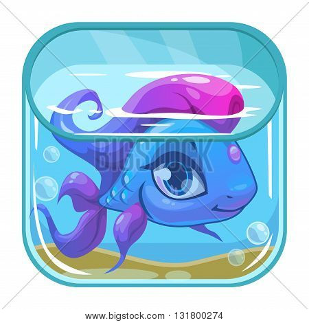 Aquarium game app icon, beautiful fish in a square tank, vector application store icon on white background, cartoon GUI element