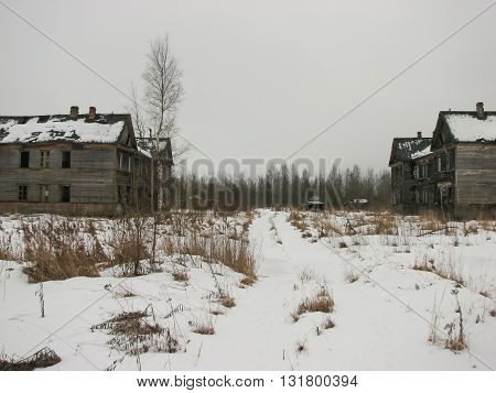 Terrible and scary abandoned houses in winter period