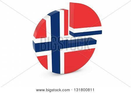 Norwegian Flag Pie Chart - Flag of Norway Quarter Graph 3D Illustration