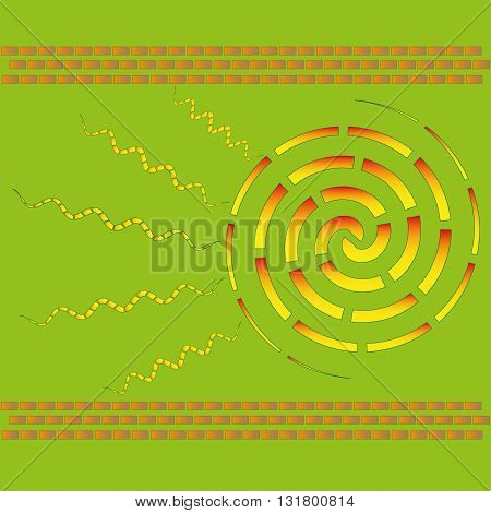 Illustration vector warm at your home Vector figure warm at your home, this wall bricks, heat is the sun on a green background for decoration and design