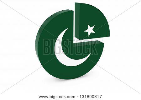 Pakistani Flag Pie Chart - Flag of Pakistan Quarter Graph 3D Illustration