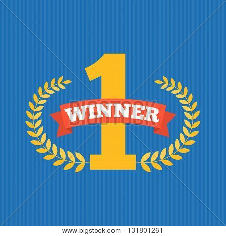 number one first sign, the winner with wreath, flat design with ribbon and blue stripe background