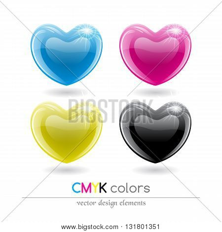 CMYK shiny hearts symbol set. Vector illustration.