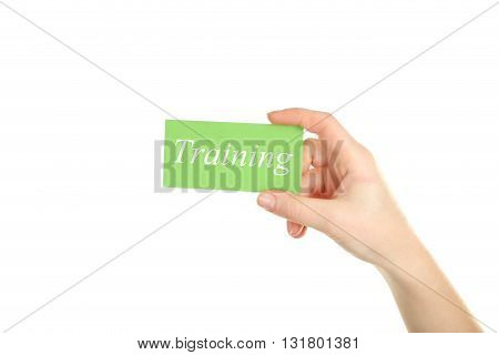 Hand holding card on a white background, training