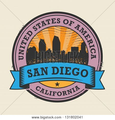 Grunge rubber stamp or label with name of California, San Diego, vector illustration