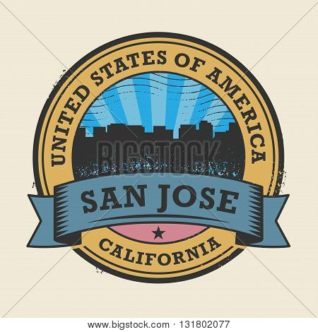 Grunge rubber stamp or label with name of California, San Jose, vector illustration