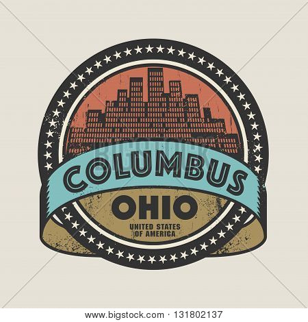 Grunge rubber stamp or label with name of Columbus, Ohio, vector illustration