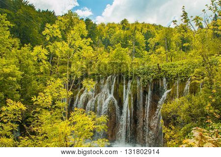 Beautiful waterfall in the Plitvice Lakes National Park in Croatia