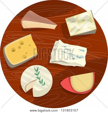 Set of cheeses. Cheese plate. Vector illustration