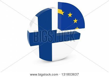 Finnish and European Flags Pie Chart 3D Illustration