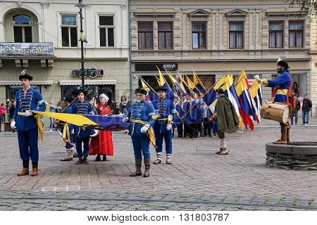 Kosice Slovakia - May 07 2016: The costumed feast.