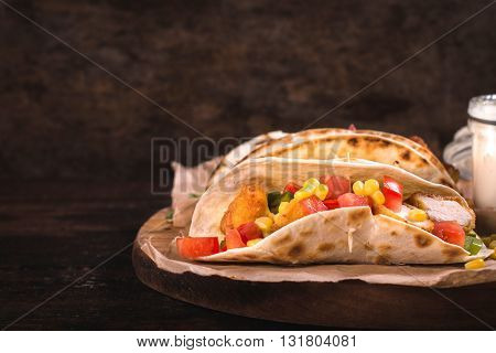 Photos of mexican cuisine on rustic background