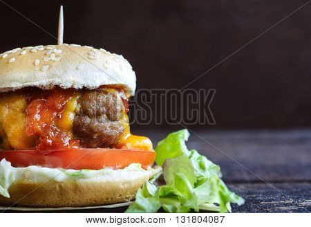 Photos of mini beef burger on rustic background