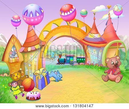 Digital Painting Illustration of a Colorful Fairy Tale Arch in a Childhood Road. Cartoon Style Artwork Scene Story Background Card Design