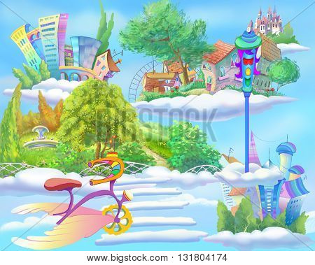 Digital Painting Illustration of a Fairy Tale World with Floating Islands in the Sky. Fantastic Cartoon Style Artwork Scene Story Background Card Design