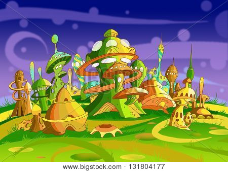 Digital Painting Illustration of a Futuristic Alien City. Fantastic Cartoon Style Character Fairy Tale Story Background Card Design
