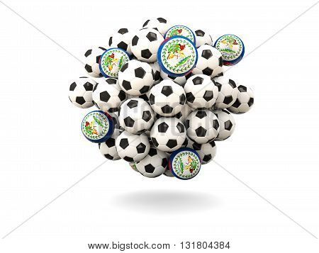 Pile Of Footballs With Flag Of Belize