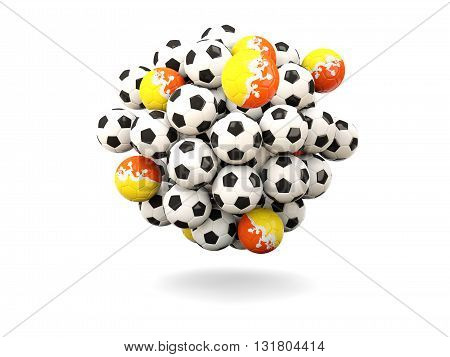 Pile Of Footballs With Flag Of Bhutan