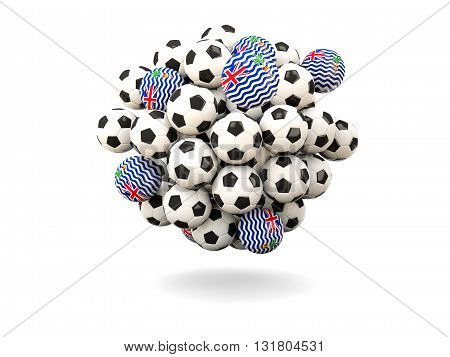 Pile Of Footballs With Flag Of British Indian Ocean Territory