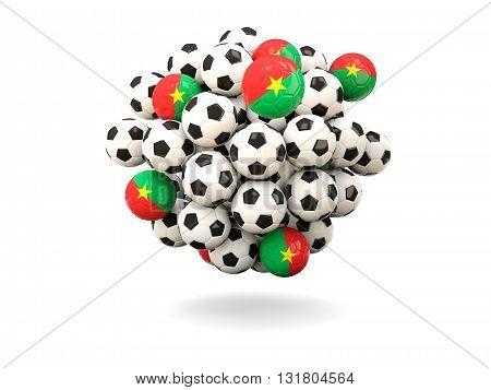 Pile Of Footballs With Flag Of Burkina Faso