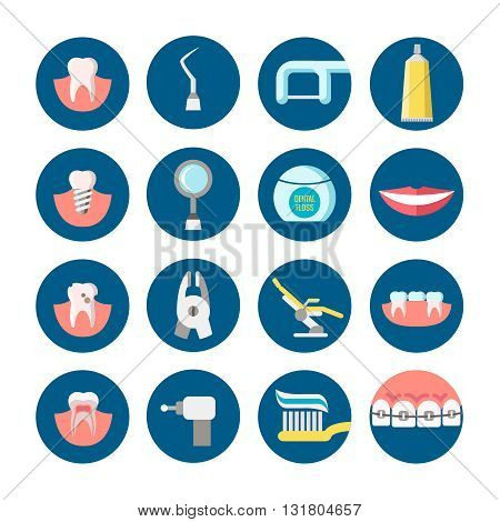 Dental clinic services flat vector icons. Health care dental and medicine tools for medical dental service illustration