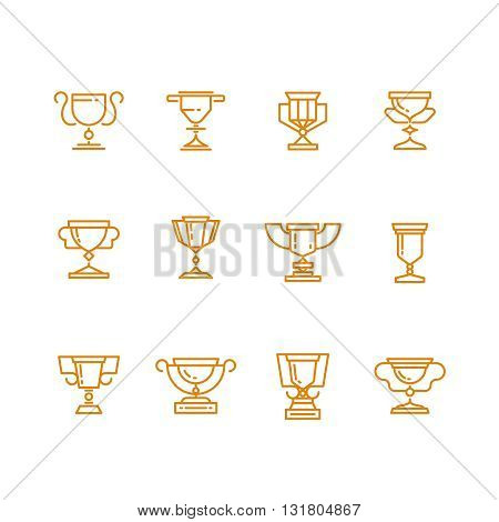 Trophy cup line vector icons set. Trophy award and win achievement cup prize. Sign success goblet or cup for champ illustration