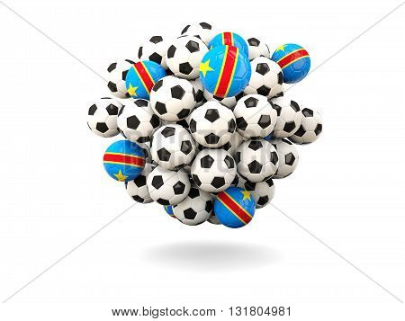 Pile Of Footballs With Flag Of Democratic Republic Of The Congo