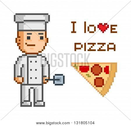 Pixel concept for pizzeria. I love pizza. Smiling cook and and slice of pizza. Delicious pizza and pizza maker.