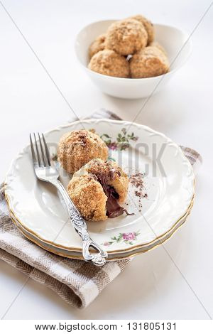 Photos of served sweet dumplings on rustic background