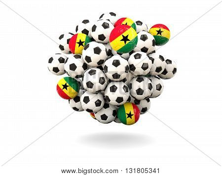 Pile Of Footballs With Flag Of Ghana