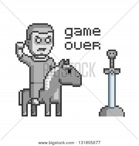 Pixel art concept game over for web and video game.