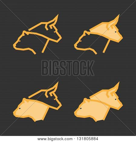 Line design concept for stock market. Vector gold linear bull and bear. Gold logo for stock exchange.