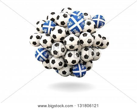 Pile Of Footballs With Flag Of Martinique