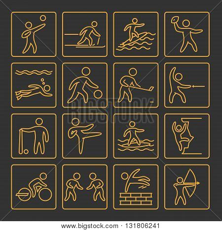Set of line icons for popular sports. Gold outline athletes on black background.