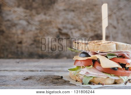 Photos of tost sandwich on rustic background