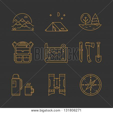 Gold line icons set of hiking camping and tourism. Line mountain tent tree and backpack. Linear map knife axe and shovel. Vector thermos cup compass and binoculars.