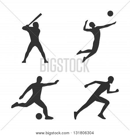 Vector black volleyball icon. Soccer players black silhouette. Modern running logo. Cool vector baseball player silhourttes.