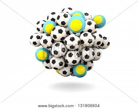 Pile Of Footballs With Flag Of Palau