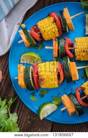 Grilled Healthy Food Served On Plate
