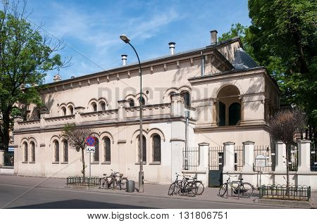 Temple Synagogue in Jewish Kazimierz district of Krakow Poland . It is also a center Jewish culture.