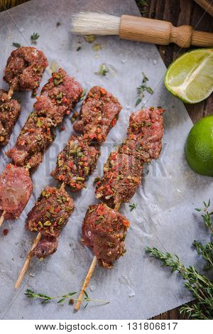 Beef Skewers Marinated Ready For Bbq
