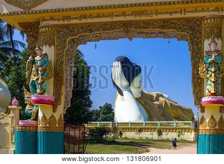 B)ago, Myanmar - January 10, 2012: the huge statue of the reclining Buddha (Shwethalyaung Buddha
