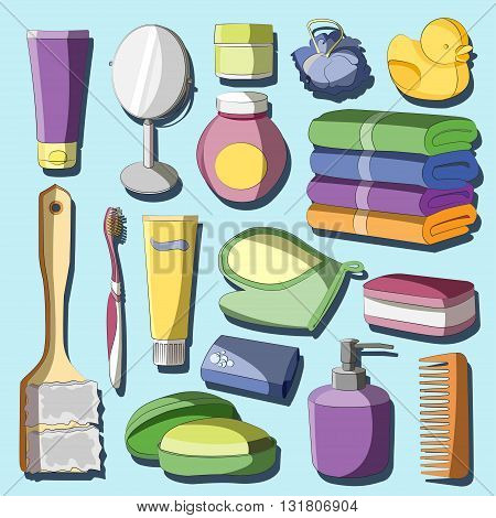 Set of Bath Accessories and Products for Beauty in free-hand style